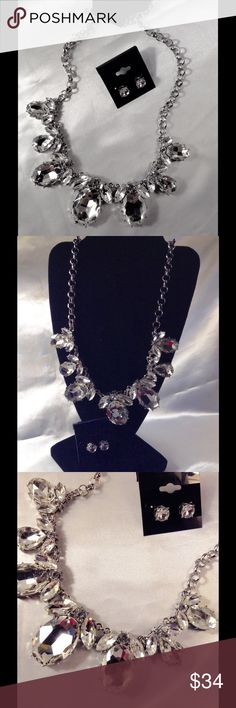 Silver Burnished Floral Design Set This gorgeous set features large Crystal clear floral shaped cabochons. Includes matching studs. (This closet does not trade or use PayPal) Jewelry Necklaces