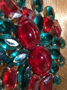 Bijoux Vintage Rhinestone Pin, Lady Bug Brooch, Czech Statement Brooch, Ruby Red Rhinestones, Estate Jewelry by MeAndMoma on Etsy