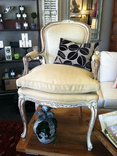 french painted chair in a linen burlap