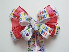 Handmade Multi Colored Happy Birthday Bow Gift Bow Birthday Party Decoration Bow