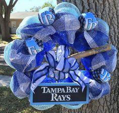 Fathers day decor, Tampa Bay Rays wreath, Tampa Bay Rays decor, Sports Wreath…