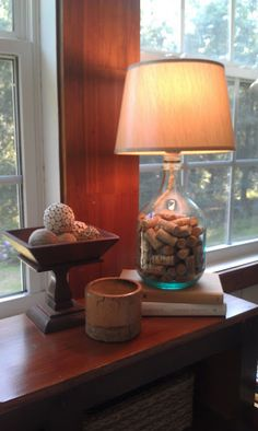 Wine Bottle Lamp.. I like the corks added to the bottle.