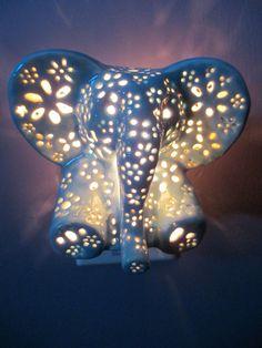 Ceramic elephant night light from LilysLights Night light Carving Lilly's lights Lillie's LIghts Lilyslights Elephant Night lights Girl night light Boy night light Baby night light Animal night light Handmade Elephant night light