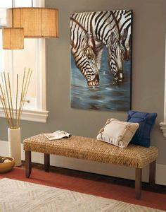 Seagrass bench, rug and beautiful zebra artwork. Amazing layering