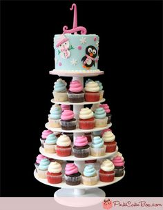 Birthday Winter Cupcake Tower - this cake by Pink Cake box is so cute! Definitely a great idea for a first Birthday! could be cute for Alayna's birthday :) First Birthday Winter, First Birthday Cakes, Birthday Cupcakes, First Birthday Parties, First Birthdays, Birthday Ideas, Winter Onederland Party Girl 1st Birthdays, Winter Cupcakes, Cupcakes For Boys