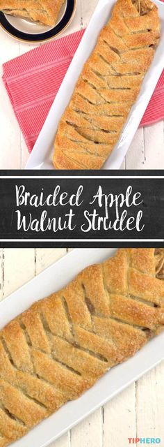 Braided apple walnut strudel is part of Apple bread Video - It's hard to believe, but we're entering applepicking season! Time to break out ALL the best fall treats, like this awesome, easy Braided Apple Walnut Strudel! Apple Desserts, Apple Recipes, Easy Desserts, Fall Recipes, Delicious Desserts, Dessert Recipes, Yummy Food, Christmas Recipes, Funnel Cakes