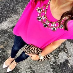 IG @mrscasual <click through to shop this look> hot pink top. Statement necklace. Banana republic denim leggings. Valentino rockstud ballerina flats. Clare v leopard fold over clutch. Michael kors Lexington watch.