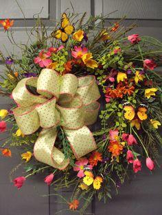 Spring Wreath Summer Wreath Wild Flower Wreath by PeriwinkleSilks, $110.95
