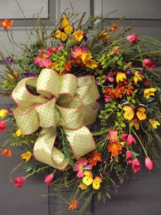 Spring Wreath Summer Wreath Wild Flower Wreath by PeriwinkleSilks, $110.95