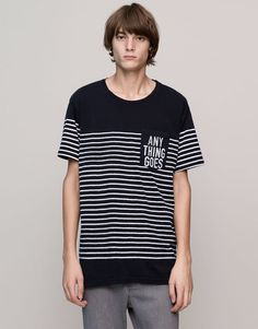 Pull amp Bear - man - t-shirts - striped panel t-shirt with 73a1f5a9908