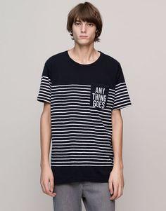 Pull&Bear - homem - t-shirts - t-shirt painéis riscas bolso estampado - marinho - 09242578-I2015