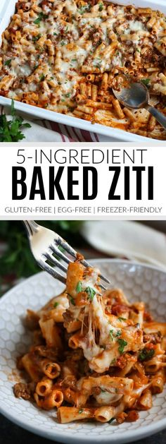 Baked Ziti Gluten-Free Baked Ziti Egg-Free Baked Ziti Freezer-Friendly Baked Ziti Easy Baked Ziti Recipe Gluten-Free Pasta Recipes Gluten-Free Dinner Recipes The Real Food Dietitians Easy Baked Ziti, Freezer Baked Ziti, Baked Ziti Healthy, Baked Food, Real Food Recipes, Cooking Recipes, Healthy Recipes, Beef Recipes, Baked Ziti Recipes
