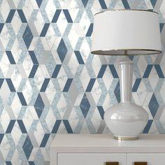 A smart blue. metallic wallpaper as tiles from the Muriva Hexagone Wallpaper Collection. Available at Go Wallpaper UK Brick Effect Wallpaper, Tile Wallpaper, Metallic Wallpaper, Luxury Wallpaper, Contemporary Wallpaper, Textured Wallpaper, Stunning Wallpapers, Blue Wallpapers, Motif Hexagonal