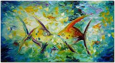 Angel Fish Hand Painted Palette Knife By FolkcultureGallery