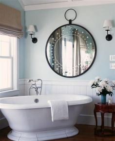 Tub -MUST- be huge garden/soaker/slipper -- big enough that when you sit upright, the water almost reaches shoulders for optimal soaking luxury. Possible option: spa tub.