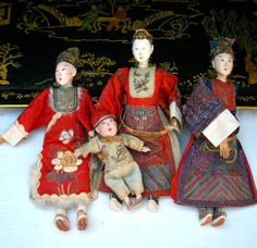 4 WONDERFUL ANTIQUE 19C CHINESE THEATRE OPERA DOLLS SILK EMBROIDERY TEXTILE Old Dolls, Antique Dolls, Vintage Dolls, Chinese Opera, Chinese Art, Chinese Dolls, Dragon Dance, Asian Love, Hand Puppets