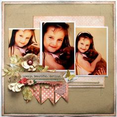 Lovely beautiful darling.  (Layout from my Flower Frenzy Kit) embellishment cluster