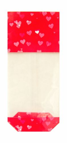 Pack of 10 block bottom Candy Bag with a rich red heart design. Each bag is made from 35 micron food safe cellophane and measures 100mm across and 220mm high when flat. The block bottom base is made from silver card and fixed firmly to the bag. Overall measurements when ready for use are 56mm wide x 37mm deep and 220mm high. Ideal for sweets, chocolate, shortbread biscuits, coffee and even toiletries. Perfect for Valentine's Day.
