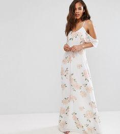 0756659c92 John Zack Tall Allover Rose Floral Cold Shoulder Maxi Dress - Multi  Bridesmaid Dresses Floral Print