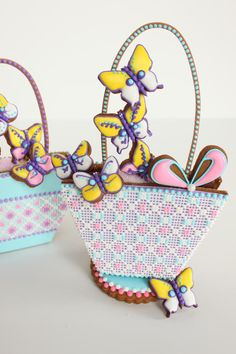 Needlepoint Easter Basket cookies by Julia M. Usher