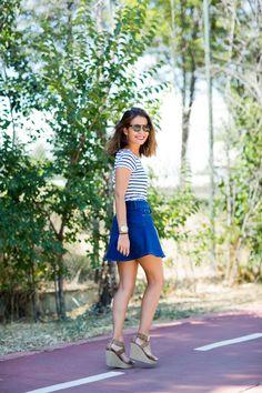 striped tee, a-line denim skirt, wedged sandals