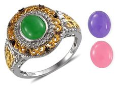 Pink Green Purple Jade and Black Diamond Silver Interchangeable Ring Size 6 #Unbranded #Hinged