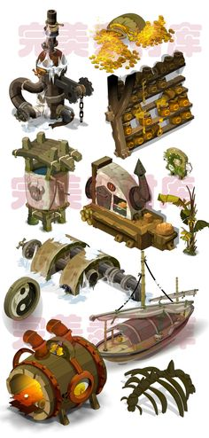 Game art scene material resources to Q version of the cartoon series full of elements [DOFUS] - Taobao 2d Game Art, 2d Art, Environment Concept Art, Environment Design, Cartoon House, Maze Game, Game Props, Game Concept Art, Art Object