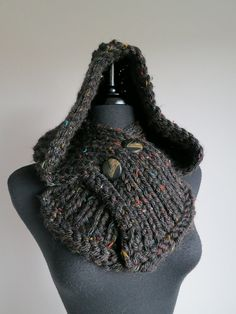 Off Black Tweed Color Knitted Chunky Buttoned by KnitsomeStudio
