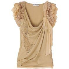 Cotton ruffled-shoulder top