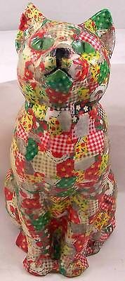 Vintage-Fabric-Decoupage-Calico-Quilt-Cat-Figurine-or-Door-Stop-10-1-2-Tall