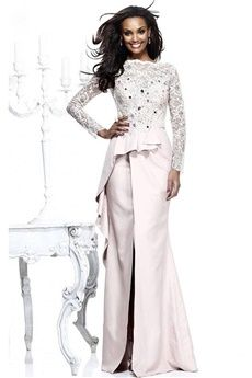 Sheath/Column Bateau Floor-length Elastic Woven Satin Lace Prom Dress