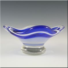 Flygsfors Coquille Glass Bowl by Paul Kedelv Signed '57