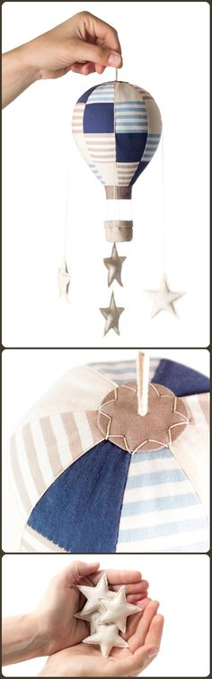 Mini hot air balloons, starry mobiles to lull little babies into sweet dreams (for adults too... shhhh)! By Jo handmade design