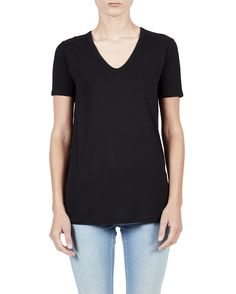 Black Classic Tee with Pocket