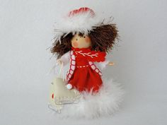 Ice Skating Art Doll, Clothespin Doll, Christmas Decor, Victorian Christmas Peg Doll, Red and White Skater, Pegtales Thin Ice
