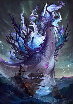 Wasserdrache von WY C - Dragon - Art Mystical Animals, Mythical Creatures Art, Mythological Creatures, Magical Creatures, Dark Fantasy Art, Fantasy Artwork, Creature Concept Art, Creature Design, Mythical Dragons