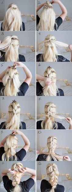 The chunky braid easy hairstyles step by step hairstyles hairstyle tu Braid Hairstyles, Pretty Hairstyles, Perfect Hairstyle, Simple Hairstyles, Wedding Hairstyles, Hairstyles 2016, Hairdos, Teenage Hairstyles, Medium Hairstyle