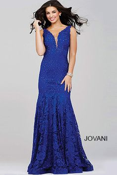 Jovani 35067 Breathtaking sleeveless lace prom gown features a plunging  neckline and crystal adornments 7ad6ee8ea