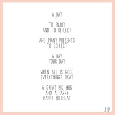 A great big hug - Op gewoonjip.nl zijn nu ook Engelse gedichtjes te vinden. Verjaardag, vriendschap, liefde, bedanken, wijsheid.. Voor je vriendjes over de grens! X JIP.