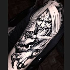 Seal Tattoo, Oni Tattoo, Demon Tattoo, Samurai Tattoo, Japanese Dragon Tattoos, Japanese Tattoo Art, Japanese Sleeve Tattoos, Black Ink Tattoos, Body Art Tattoos