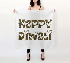 Silk Square Scarf #Diwali #Typography #Hearts
