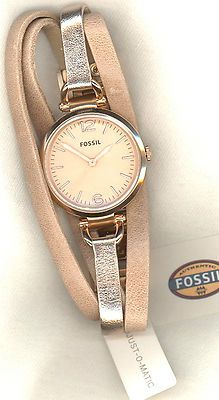 Fossil ES3411 Women's Gold Tan Multi Leather Strap Rose Gold Tone Watch
