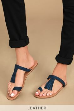 Slip into a summer state of mind in the Lulus Cates Navy Blue Nubuck Leather Slide Sandals! Genuine leather slides with tassel detail and asymmetrical toe loop. Navy Blue Shoes, Tan Shoes, Pump Shoes, Casual Shoes, Shoes Heels, Slide Sandals, Flat Sandals, Sandal Heels, Sport Sandals