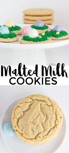 Malted Milk Cookies - this malted milk cookies recipe is the perfect Easter cookie. You can add green frosting grass malted milk ball eggs and festive sprinkles. The best part is that they're equally delicious without the frosting and Easter decorations! Delicious Cookie Recipes, Best Cookie Recipes, Milk Recipes, Dessert Recipes, Cupcake Recipes, Yummy Food, Milk Cookies, Yummy Cookies, Sugar Cookies