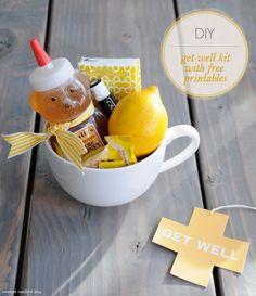 DIY: Get Well Kit.....  Large mug |    Honey bottle |    Fresh lemon |    Chapstick brand lip balm |    Tissues |    Burts Bees Honey  Lemon Throat Drops |    Optional - Clear Cellophane Basket Gift Bag |