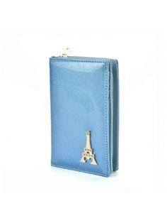 Women's Wallet Metal Decor Short Pattern Zippers Design Purse