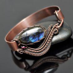Wire Wrap Labradorite and Garnet Copper Cuff - Nicole Hanna Jewelry