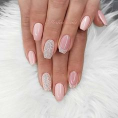 43 Pretty Nail Art Designs for Short Acrylic Nails Nude Nails with Glitter Nude Nails With Glitter, Pink Nails, My Nails, Best Acrylic Nails, Acrylic Nail Designs, Nail Art Designs, Nails Design, Beyonce Nails, Nagellack Design