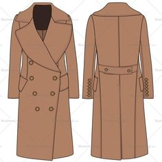 Women's overcoat fashion flat vector template in front and back sketch. This sketch includes all stitching details with metallic buttons. Easy to edit and use.
