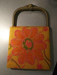 60s Vintage Fuschia Orange FLORAL Silk Taj Handbag